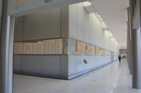 Display of the marbles from the Parthenon (copies - the originals in the British museum)
